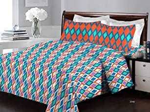 Bombay Dyeing Cotton Orange Flat Bedsheet(Standard)
