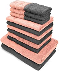 Swiss Republic Towels Set- Signature collection 630 GSM made with 100% ring spun extra soft cotton with quick dry and double stitch line for extra long durability - set of 14 towels with 2 YEARS replacement GUARANTEE. (Light Pink/Grey)