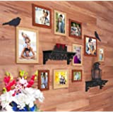 Art street - Bird's Nest Set of 10 Individual Wall Photo Frame - Mix Color (4X6, 6X8, 8X10) with 2 PVC Wall sheves