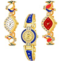 DREAM VILLA ANALOG MULTI COLOR STRAP PACK OF 3 WRIST WATCHES FOR WOMEN AND GIRLS WATCH