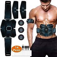 EITEYI Elettrostimolatore per Addominali, Elettrostimolatore Muscolare Stimolatore con USB Ricaricabile, 14 Pezzi Gel di Rica