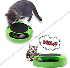 THE DDS STORE Cat Catnip Scratcher Toy with a Running Mice and a Scratching Pad (Green)