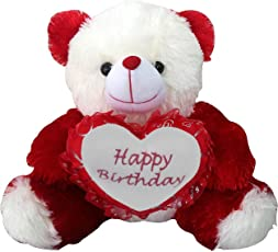 Saugat Traders Birthday Gift for Girlfriend/Wife Happy Birthday Teddy with Heart Soft Toy- 40 cm.