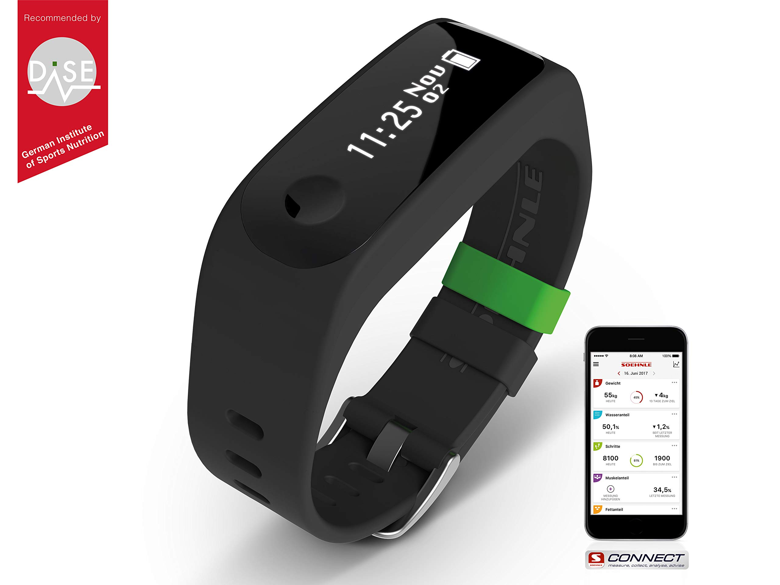 Soehnle Fit Connect 100 Pulsera de Actividad con Bluetooth, Negro