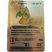 Pokemon Dragonite 1ère édition Jeu de cartes en métal doré