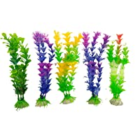 Pets Wizard 5-in-1 Artificial Plastic Plant for Decoration of Aquarium (8-inch Height) (5 Pcs)