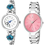 K.D ENTERPRISE - LIVE EVERY SECOND Smartwatch Women's Watch (Multicolored Dial Silver Colored Strap) (Pack of 2)