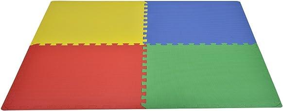Outsunny - Tappeto gioco bimbi 60x60cm - Set 8 Pezzi, materiale isolante, resistente all'umidità