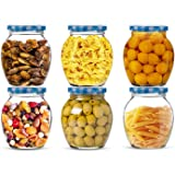 STAR WORK Matka Glass Jar for Storage of Spices and Dry Fruit, Air Tight Blue Checks Metal Lid Set of 6 (Blue Checks…