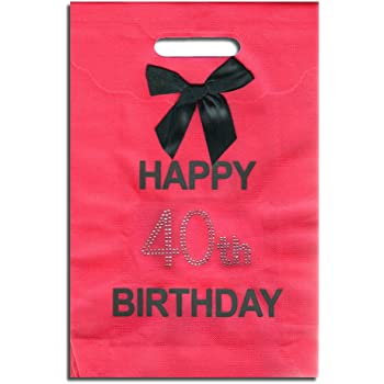 40th Big Birthday Happy Hot Pink Gift Bag With Diamantes