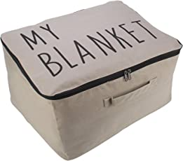 HOKIPO® Wardrobe Organizer Cloth & Blanket Storage Bag, Large 52 x 44 x 25 cm, Grey