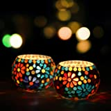 WebelKart Set of 2 Mosaic Glass TeaLight Votive Candle Holder with Tea Light Candles for Living Room Table Home Decor…