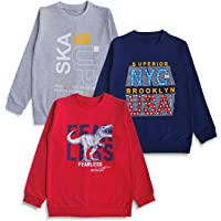 minicult Cotton Kids Sweatshirts with Round Neck and Ribbed Full Sleeves for Light Winters (Pack of 3) (Multicolor)