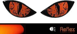 Bike Label 910067a Reflektor Aufkleber 3d Böse Augen Auto Motorrad Helm Orange Auto