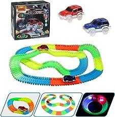 infinitoo Autorennbahn, Magic Trucks Auto Spielset, Inclusive 220 Stück Tracks & 2 E-Autos, Rennbahn Racetrack Spielset für Kinder ab 3 Jahre Alt
