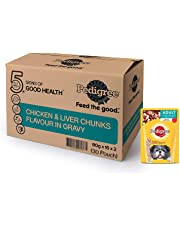 Pedigree Adult Wet Dog Food, Chicken and Liver Chunks in Gravy, 30 Pouches (30 x 80g)