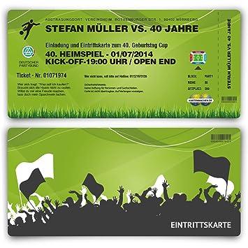 Einladungskarten 30 Stuck Zum Geburtstag Als Fussballticket