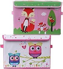 UberLyfe Pink Foldable Storage and Toy Box - Fox & Owl Design (KSB-1081-1082)