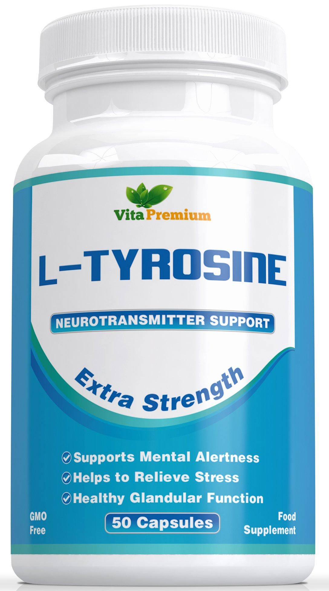 71Q2ahM3dgL - L-Tyrosine Extra Strength, Amino Acids, 50 Veggie Capsules by Vita Premium