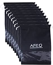 AFEO Black Non-Woven Fabric Shoe Bag with Transparent Window - Pack of 10