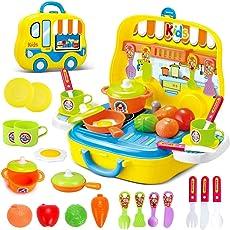 JEJA Rollenspiel Küche Spielset Spielzeug Vorgeben Kochset Essen Set 26ST Ideales Geschenk für Kinder Kinder Jungen, Gelb