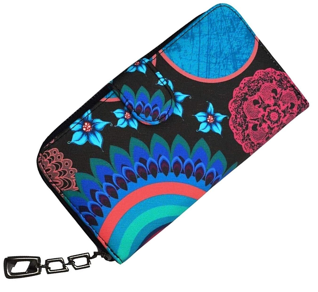 Cartera de Mujer Grande Cartera Bolso de Mano de Piel Sintética Monedero Elegante Estampado Floral Retro Regalo para Mujer Cartera de Viaje Práctico con Compartimentos para Tarjetas Estuche para Móvil