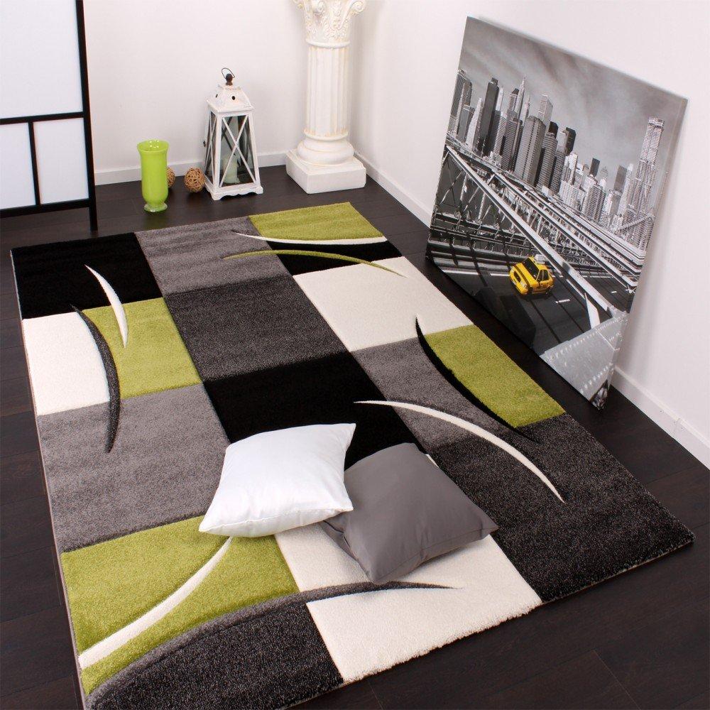 designer teppich mit konturenschnitt karo muster grn schwarz grsse120x170 cm amazonde kche haushalt - Wohnzimmer Grun Weis Grau
