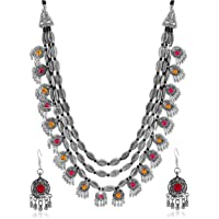 YouBella Fashion Jewellery Antique Oxidised Silver Plated Tribal Jewellery Necklace Earring Set for Women & Girls…
