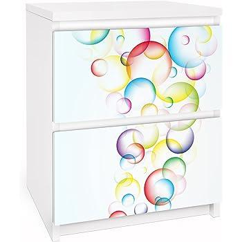 Pellicola adesiva per mobili ikea malm dresser 2xdrawers rainbow bubbles gr e 2 mal 20cm x - Pellicola adesiva per mobili ikea ...