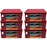 Kuber Industries Metalic Flower 6 Piece Non Woven Saree Cover Set, Large, Red