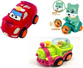 MaaShiva Random Color Cars Baby Infant Inertial Toys for Baby 3 in a Pack for 0-3Years Kids(Car, Scooter, Train)