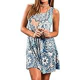 Sommerkleid Damen Rundhals Casual Ärmellos Strandkleid Blumen Bedrucktes Kurz T Shirt Kleider Minikleid mit Taschen