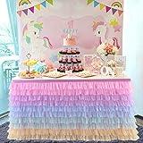 Rainbow Tulle Table Skirt Unicorn Tutu Table Skirts for Kids Party,Baby Shower, Girl Birthday,Unicorn Room Decorations (10 La