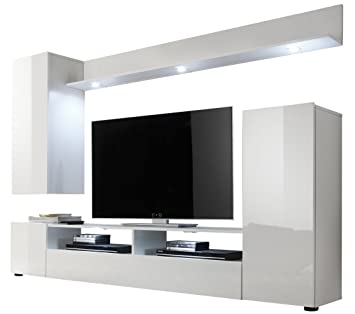 Furnline Dos High Gloss TV Stand Wall Unit Living Room Furniture Set, White:  Amazon.co.uk: Kitchen U0026 Home Part 57