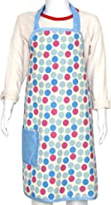 Kadambaby - Blue Polka printed apron for Boys and Girls. Adjustable Ties for Versatile Fit, 100% Cotton (3-6 years)