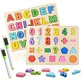Colmanda Puzzle En Bois, 2 Pièces Alphabet en Bois et Numéro D'apprentissage Jouet éducatif Puzzle Alphabet en Bois pour L'ap