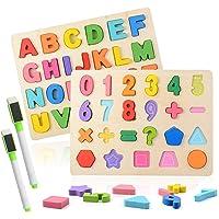 Colmanda Puzzle en Bois, 2 Pièces Alphabet en Bois et Numéro d'apprentissage Jouet éducatif Puzzle Alphabet en Bois pour…