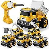 GizmoVine Démonter et Assembler Véhicules de Construction Camion Jouets, 6 en 1 Bricolage Pelles Construction Jouets pour Enf