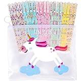Faburo 20pz Unicorno penne e 1 borsa di cartoleria, Colorata Unicorn Flamingo Penne a sfera Scrittura Liscia Firma Penna…
