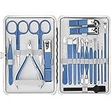 Tagliaunghie Set Professionale, EIVOTOR 19pcs Kit Manicure Pedicure Viso Attrezzi Cura Unghie Forbici in Acciaio Inossidabile