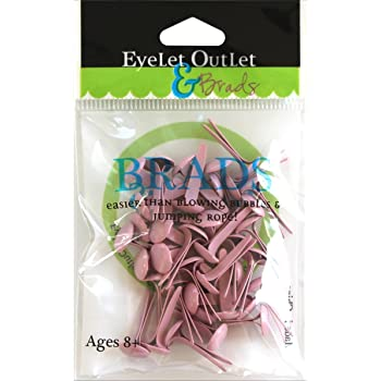 Eyelet Outlet Pastel Pink 4mm Round Brads 70 Pack