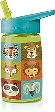 "Crocodile Creek Eco Kids Jungle Jamboree Flip Straw Tritan Drinking Bottle, Lime Green, 7"""