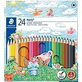 STAEDTLER Noris Club 144 NC24 kleurpotloden, verhoogde breukvastheid, zeskant, set met 24 schitterende kleuren, kindvriendeli
