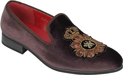 Gli Uomini di Velluto Fannulloni Bee & Crown Ricamati Motif Abito Vintage Scarpe: Le Pantofole