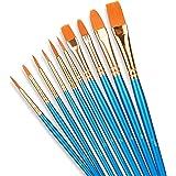 SHW Art Essentials 10 Pcs Paint Brushes Set,10 Sizes Nylon Hair Artist Painting Brush Kit for Acrylic, Oil Watercolor, Face N