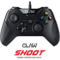CLAW Shoot Wired USB Gamepad Controller for PC Supports Windows XP/7/8/10 with Rubberized Textured Grip and Dual Vibration Motors