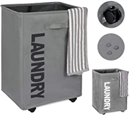 House of Quirk Cotton Laundry Basket with Wheels, Grey