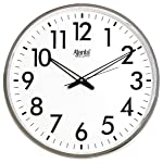 Ajanta Quartz Wall Clock (32 cm x 32 cm x 2 cm, White Dial and Silver Rim)