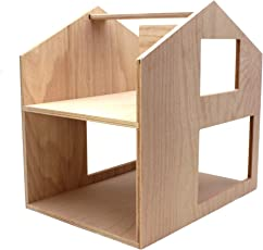 Puppenhaus aus Holz natur, Haus18 von Puppenvilla, modernes Spielhaus, 2-stöckige Puppenstube (2 Etagen), fertig aufgebaut, Größe: 40x40x30cm, Holz-Spielzeug für Mädchen und Jungen, Stadt-Haus mit Tragegriff zum Mitnehmen, hergestellt in Deutschland