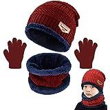 CheChury Bambino Cappello Sciarpa Guanti Beanie Bambino Cappello Inverno Bambino Sciarpa Inverno Regalo di Natale Bambini Cap